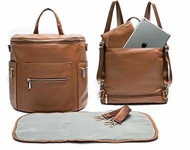 miss fong Leather Diaper Backpack with Changing Pad