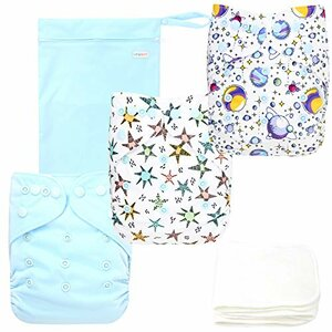 Langsprit Baby Cloth Diaper, Bamboo Inserts, Space