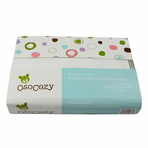 OsoCozy Prefolds Bleached Cloth Diapers, Size 1, 6 Pack