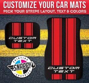 SnappyPrinting Customizable Racing Stripe Car Mat