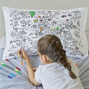 Doodle World Map Pillowcase
